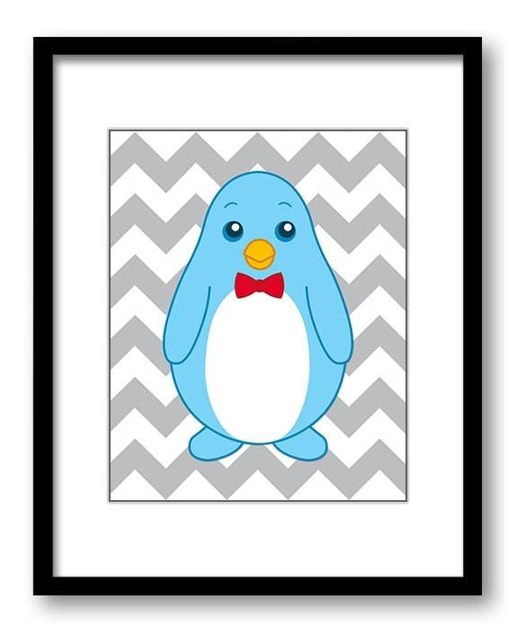 Boy Penguin Bow Tie Sailor Hat Art Nursery Art Nursery Print Child Baby Art Print Boys Kids Room Wal