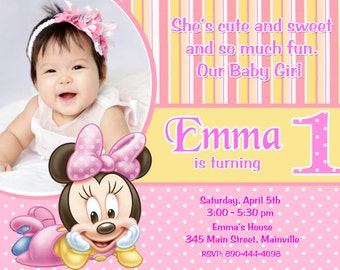 Baby Minnie Mouse First Birthday Party Invitation - Digital or Printed
