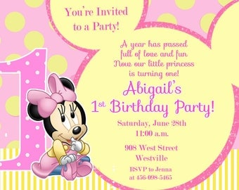 Minnie Mouse First Birthday Party Invitation - Digital or Printed with FREE SHIPPING