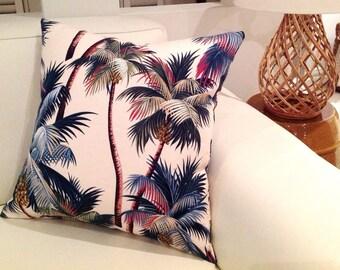 Palm Tree Cushion, Palm Pillows, Tropical Palms Cream Cushion Covers. Hawaiian Cushions, Tropical Pillows Retro Hawaiian Style Coastal Decor