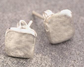 Studs - Sterling Silver Earrings - Silver Studs - 925 Earrings - Simple Earrings - Hammered Earrings - Square Earrings - Organic Earrings