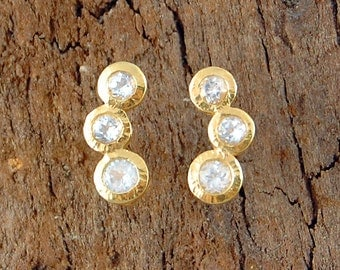 Clear Gemstone Earring, Gold Studs, Diamond Cut Stones, Semi-Precious Studs, White Topaz Earrings, Gold Earrings, 18 Carat Gold Plated, 925