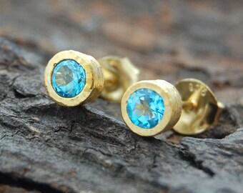 Gemstone Stud Earrings, Gold Studs, Blue Topaz Earrings, Round Earrings, November Birthstone, Birthstone Earrings, Jewelry Gift Set, Topaz