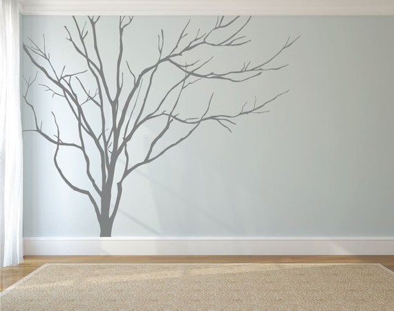 Realistic winter tree wall decal headboard wall decal home for Tree wall art