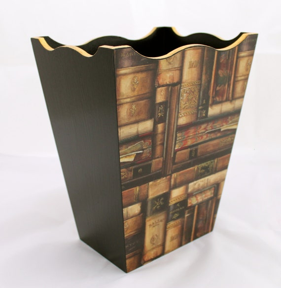Waste Paper Basket Dark Brown Wooden Bin With Book Design And
