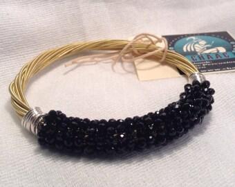 Guitar Strings Bracelet with Black Crystals