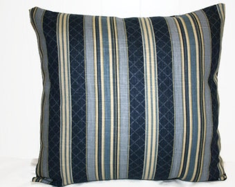 Decorative 16x16 Indigo Blue and Tan Striped  Pillow Cover