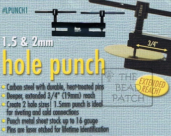 BeadSmith Two Hole Punch 1.5 mm & 2.0 mm Sheet Metal and Other, 2 Hole Punch