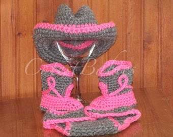 Newborn Baby Crochet Cowboy/ Cowgirl Hat, Boots & Diaper Cover Photo Prop