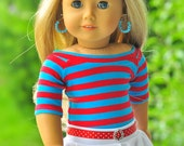 18 inch doll clothes, AG doll clothes, Girl doll clothes, red/blue top, white skater skirt, belt and earrings