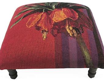 Corona Decor Co. French Woven Wool Vintage Tropics I Footstool