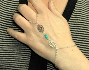 Silver turquoise slave bracelet, Slave bracelet ring, Silver finger bracelet, Boho slave bracelet, Turqoise hand bracelet
