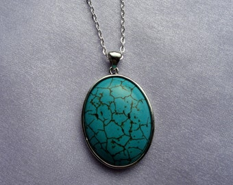 Silver and turquoise pendant necklace, Long turquoise necklace, Turquoise necklace, Statement necklaceGifts