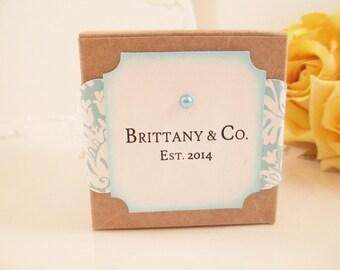 10 Breakfast at Tiff... Party Gift Box, Aqua Blue Kraft Favor Box, Pool Blue Wedding Favor Box, Turquoise Baby Shower Favor Box