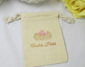 Baby Girl Muslin Favor Bags, Muslin, Girl Baby Shower Favors, Baby Shower Favors, Cotton Favor Bags, Drawstring Favor Bags, Bird Nest Bag