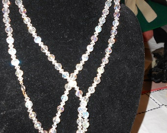 Long Strand of Aurora Borealis Crystal Necklace