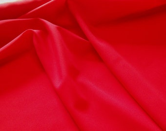 """Polyester Pongee Lining in Red color; 58"""" wide lining fabric priced per 1 yard"""