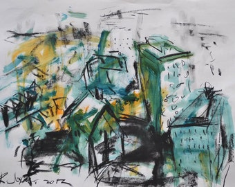 Original Cityscape Charcoal Drawing, Landscape Painting, Mixed Media Painting, Abstract Artwork, Original Painting