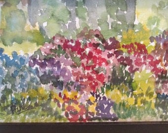 """Original Watercolor Impressionist Painting """"Mixed Border"""" Framed under Glass Small"""