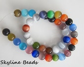 Cat's Eye Beads - Colorful- 14 inch Strand - Round10mm - About 40 beads