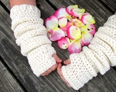RTS Slouchy Arm Warmers, Long Sleeves, Cream, Off White Fingerless Gloves, Texting, Winter Accessories, Teen Adult Arm Warmers