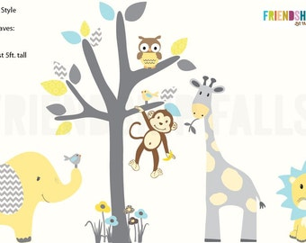 nursery Jungle Decal, elephant Wall Decal, giraffe decal, Nursery Wall Decal, Friendship Falls XXL Branch Tree Set - Splash of Retro Scene
