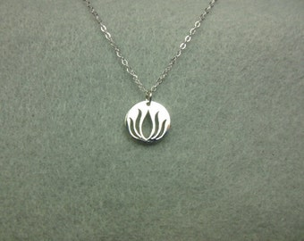 Necklace silver lotus coin charm- Sterling silver necklace- Pendant- Flower necklace