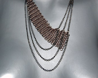 Chainmail necklace, asymmetric