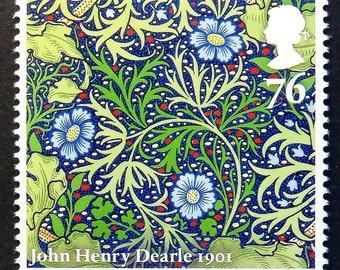 Painting Flowers, John Henry Dearle 1901 -Handmade Framed Postage Stamp Art 15527