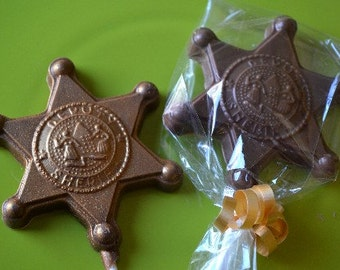 Chocolate Deputy Sheriff Badge Lollipops - Western Party - Cowgirl Party Favor - Cowboy Party Favor - Cowgirl Chocolate - Cowboy Chocolate
