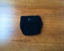 Crochet Baby Black Diaper Cover/PhotoProp/Made to Order