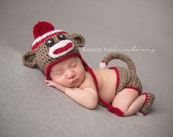 Crochet Sock Monkey 4 piece Costume/ Sock Monkey Photography Prop