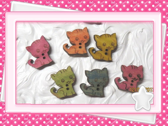 0: )- CABOCHON -( WOODEN Kittens cat kitty
