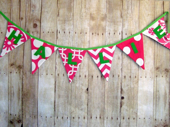 Pink Banner - Name Sign - Custom Banner - Word Bunting - Party Decoration - Baby shower banner - wedding banner - photo prop - Letter flags
