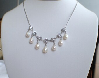 FreshWater Pearl Necklace- 6-7 mm Cream Pearl , Bridal Jewelry, fresh water pearl Necklace, JEW002001
