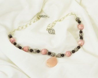 Pink Opal with Rhodochrosite and Garnet Sterling Silver Chainmaille Necklace