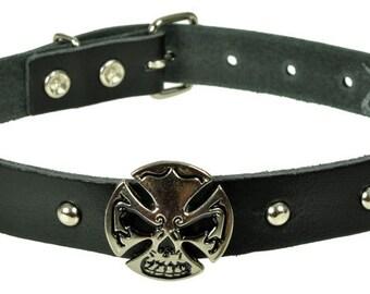 """Lederhalsband/Choker """"SKULL CROSS"""", Leder, leather, Halsband, Schwarz, black, Totenkopf, skull, Niete, rivet, Kreuz"""