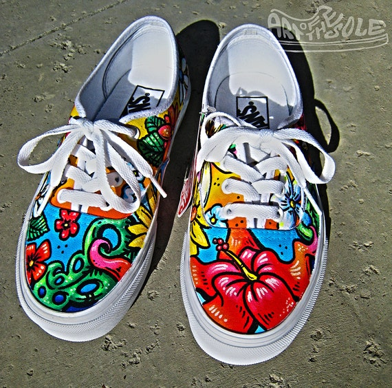 Vans Authentic Custom ALOHA Custom Hand Pain...