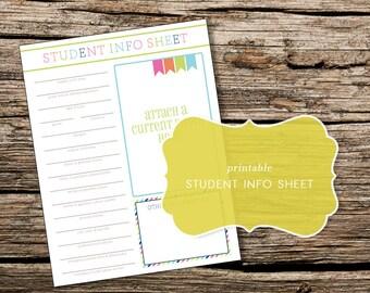 Printable Student Information Worksheet