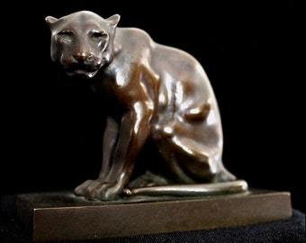 Rare Exceptional Antique Bronze Panther Sculpture / Turn-of-Century Sculptor Carl Sorensen / Provenance