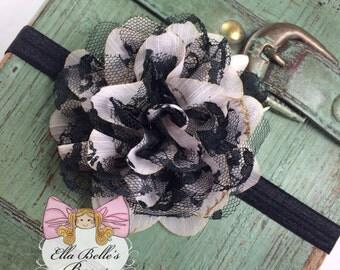 Black & White Chiffon Flower Headband