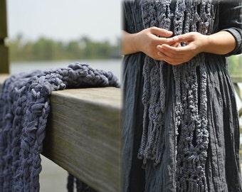 232---Hand Crochet Pure Silk Scarf, Gray Silk Scarf.