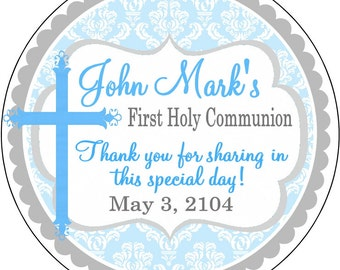 Light Blue Damask First Holy Communion, Baptism, Dedication Thank You Labels, Stickers Party Favors Gift tags