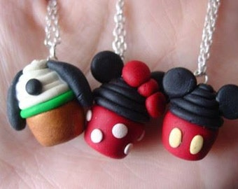 Disney Cupcake Pendent Necklace (Minnie mouse, Mickey mouse, Pluto)