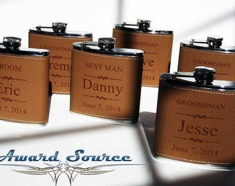Groomsmen Wedding Gift 1 Leather Flask Set, Engraved Flask, Flask Leather Wrapped, Best Man Gift