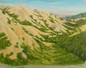 Greeting Card Reproduction of an Original Pastel of a Sweeping View of the Golden Summer Hills of Lucas Valley, Marin California Blank MTO