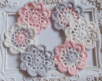 6 crochet flowers applique CH-031-01