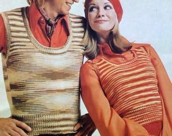 vintage knitting pattern 1970s tank top vests for men and women 32-42 inch chest his and hers