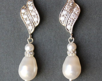 Crystal and Pearl Drop Bridal Earrings, Bridal Earrings, Bridal Jewelry, Wedding Jewelry, Bridesmaids Jewelry