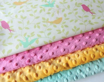 Baby Blanket - MADE TO ORDER - Sparrow Baby Blanket - Baby Bedding - Bird Baby Blanket - Forest Minky- Minky Blanket - Cot Blanket - Forest